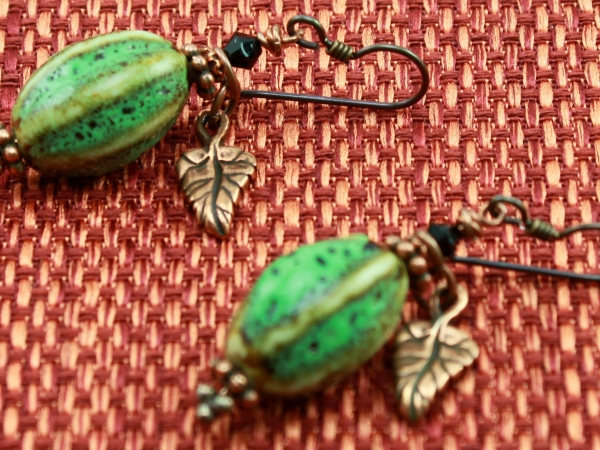Rustic Bohemian Green Ceramic Necklace & Earrings