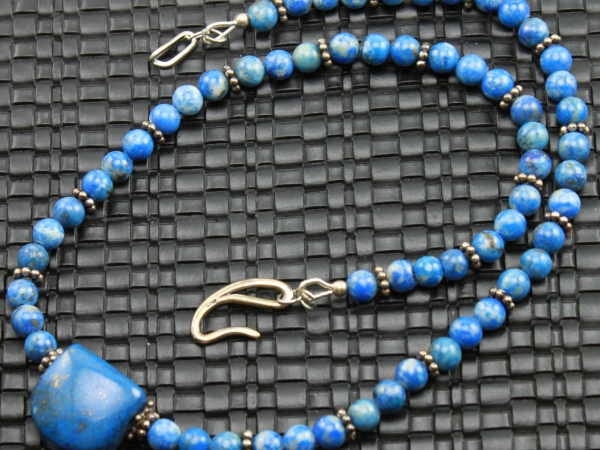 Denim Lapis Lazuli Gemstone Necklace & Earrings