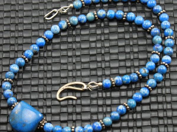 Denim Lapis Lazuli Gemstone Necklace & Earrings