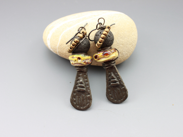 Rustic Earthy Primitive, Tribal Totem Earrings