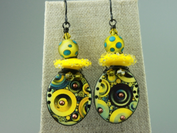 Yellow & Blue Glass & Enameled Earrings