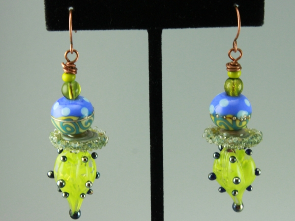 Lime Green & Blue Glass Earrings