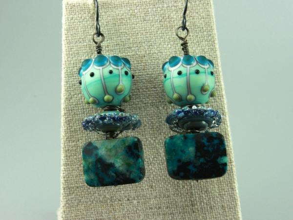 Aqua Teal Blue Glass & Chrysocolla Gemstone Earrings