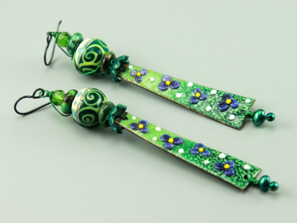 Long Green Floral Earrings