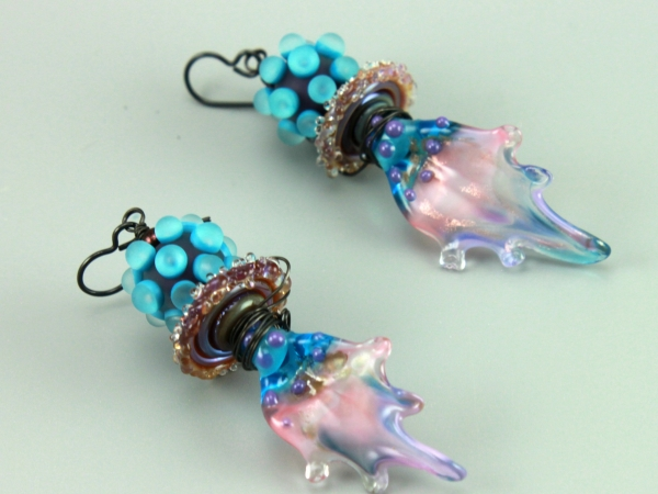 Blue & Pink Leaf Petal Earrings
