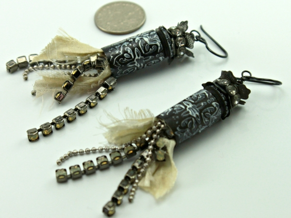 Rhinestone Black n White Earrings