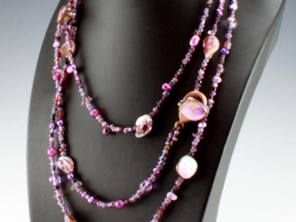 Amethyst Purple Necklace or Bracelet, 3 Strands