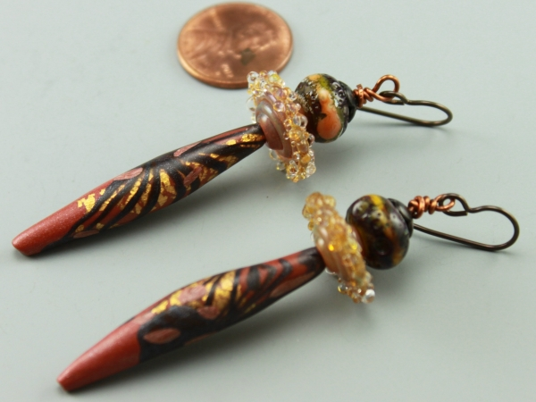 Copper Polymer Clay Drop Earrings