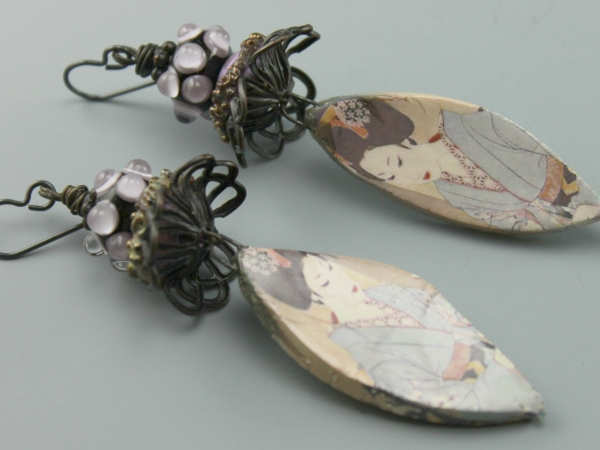 Lavendar Oriental Lady Earrings