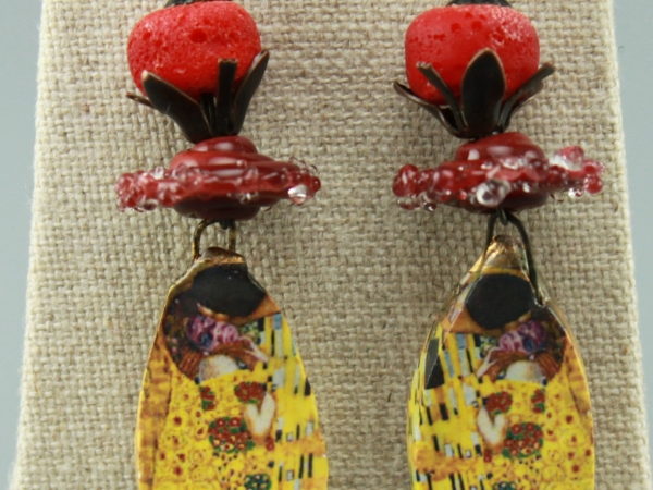 Ceramic  Earrings-Decal of The Kiss by Gustav Klimt