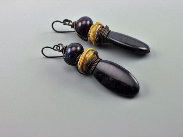 Rustic Dark Blue Earrings