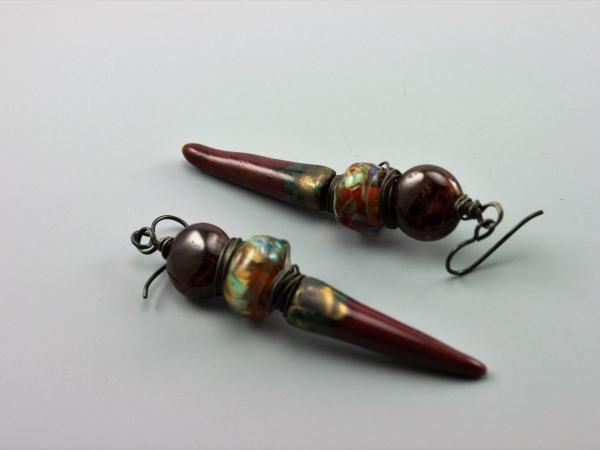 Rich Red Petra Raku Spike Earrings