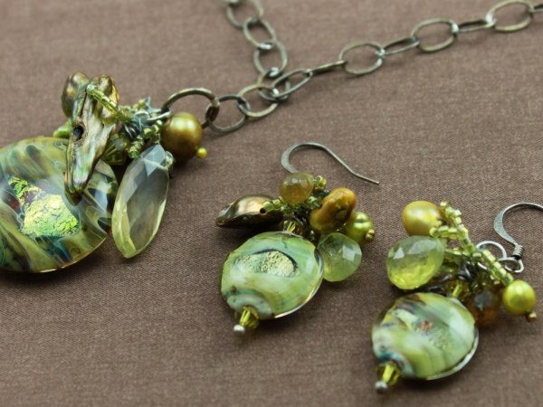 Rustic Boho Dichroic Glass Necklac & Earrings