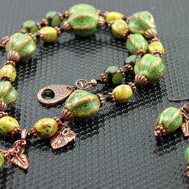Rustic Bohemian Green Ceramic Necklace & Earrings