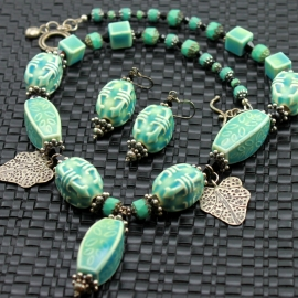 Zen Bohemian Aqua Ceramic Necklace & Earrings