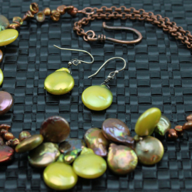 Rustic Rich Coppery Colored Heart Pearl Necklace