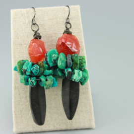 Carnelian & Turquoise Gemstone Statement Earrings
