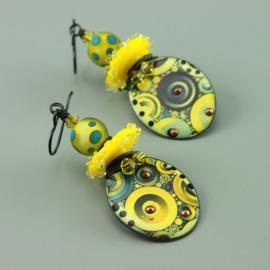 Yellow & Blue Glass & Enameled Earrings