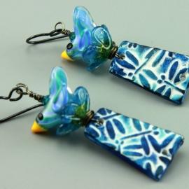 Blue Dragon Fly & Bird Earrings