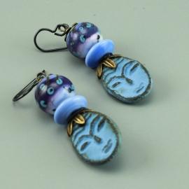 Blue Ceramic Face & Glass Bead Earrings