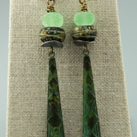 Green Patina Copper Dangles with Lampwork Glass and Silver Discs, #762-114