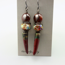 Rich Red Rustic Petra Raku Spike Earrings