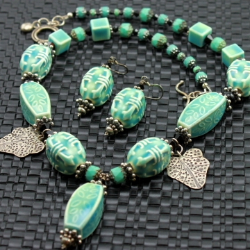 Zen Boho Aqua Ceramic Necklace & Earrings
