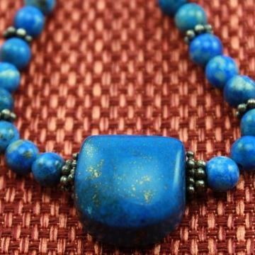 Denim Lapis Lazuli Necklace & Earrings