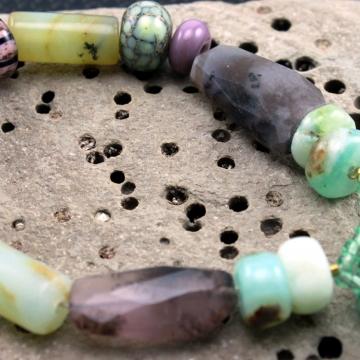 Rustic Peruvian Opals & Amethyst Gemstone Bracelet