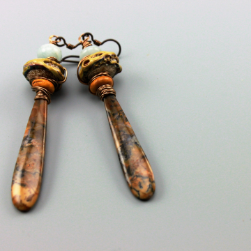 Rustic Earrings, Rustic Boho Earrings, Rustic Statement Earrings, Rustic Hippie Earrings, Rustic Primitive Earthy Earrings, Rustic Brown Opal Gemstone Earrings,  #510-114