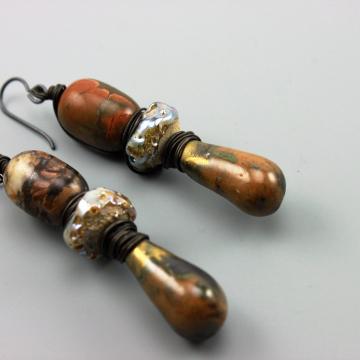 Rustic Earrings, Rustic Boho Earrings, Rustic Hippie Earrings, Rustic Primitive Earthy Earrings, Rustic Brown Raku Earrings #511-114