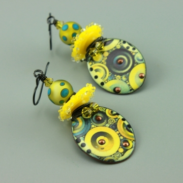 Yellow & Blue Glass & Enameled Earrings, 1432
