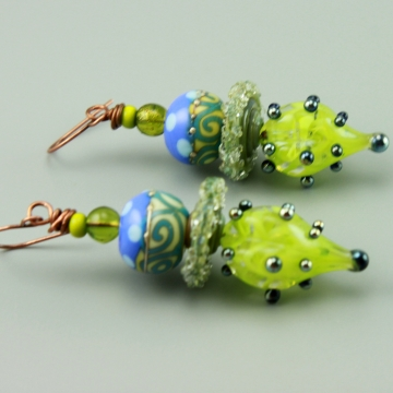 Lime Green & Blue Glass Earrings, 1429