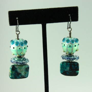 Aqua Teal Blue Glass & Chrysocolla Gemstone Earrings, 1449