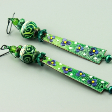 Long Green Floral Earrings, 1447