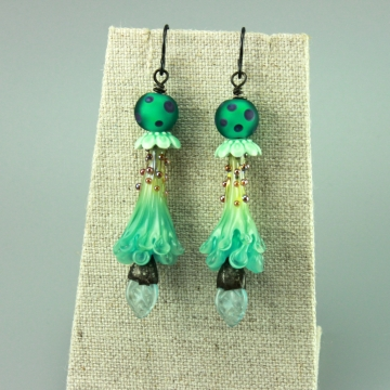 Aqua Green Trumpet Glass Flower Earrings, 1444