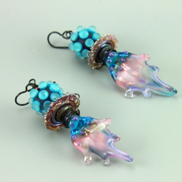 Blue & Pink Boho Leaf Petal Earrings, 1445