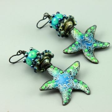 Teal Aqua Blue Green Enameled Starfish Earrings, 1442A