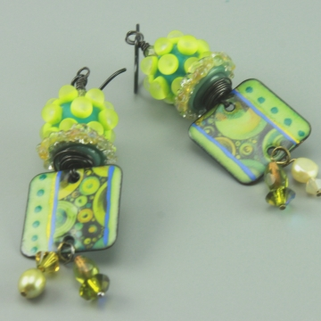Green Enameled Glass Earrings, #1467