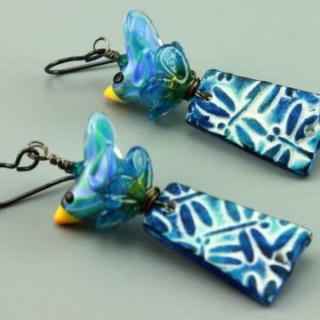 Blue Dragon Fly & Bird Earrings, #1443