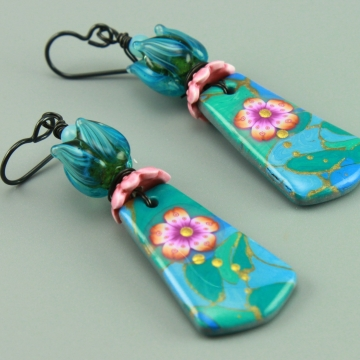 Aqua Floral Earrings, #1464