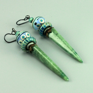 Mt Green Jade Earrings, #1456