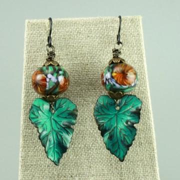 Blue Green Leaf Earrings, 1455