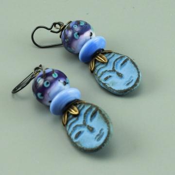 Blue Ceramic Face & Glass Bead Earrings, 1454