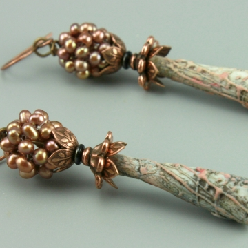 Pale Peach Blue Porcelain Pearl Earrings, 1450