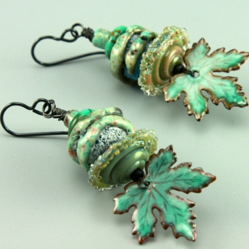 Pale Bluey Green Earrings, 1463
