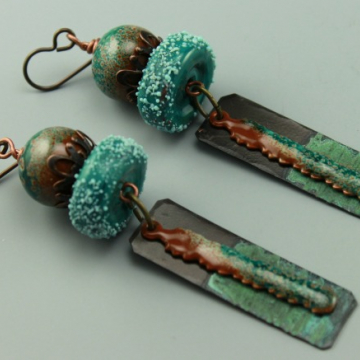 Rustic Turquoise & Copper Earrings, Rustic Boho Earrings, Enameled Earrings, #733-114