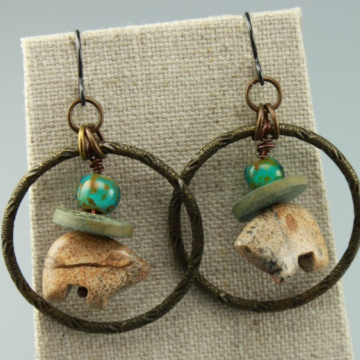 Rustic Earrings, Rustic Jasper Gemstone Bear Earrings, Hippie Earrings, Primitive Earrings, Tan Earrings, Turquoise Earrings, #747-114
