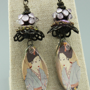 Oriental Inspired Lavendar Earrings, #800-114