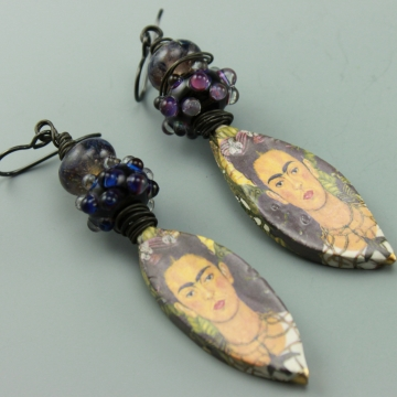 Freda Kahlo Ceramic Glass Earrings, #788-114